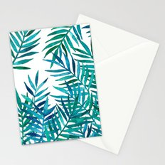 Watercolor Palm Leaves on White Stationery Cards