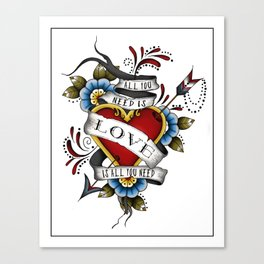 All You Need is Love - White Canvas Print