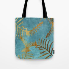 Golden cycas leaves on turquoise canvas Tote Bag