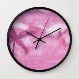 Pink Palm Sky Wall Clock