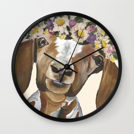 Goat Art, Flower Crown Goat Wall Clock
