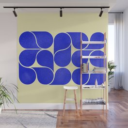 Blue mid-century shapes no8 Wall Mural
