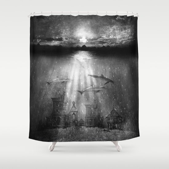dolphins, civilization. Shower Curtain