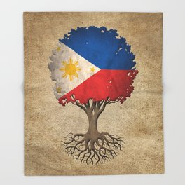 Vintage Tree of Life with Flag of Philippines Throw Blanket