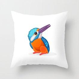 Kingfisher bird. Vector graphic character Throw Pillow