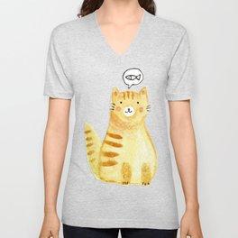 Watercolor Orange Cat Unisex V-Neck