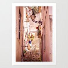 the narrow street in lisbon Art Print