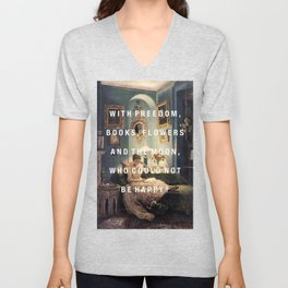 freedom, books, flowers and the moon Unisex V-Neck
