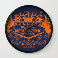 sin city Wall Clocks featuring Sin City (Orange/Blue) by Gusto NYC