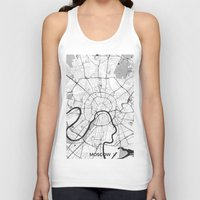 moscow Tank Tops featuring Moscow Map Gray by City Art Posters