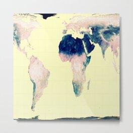 World Map : Gall Peters Pastel Metal Print