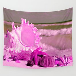 Shells and starfishes in pink Wall Tapestry