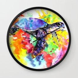 Sea Turtle in Coral Reef design, sea world colorful coral sea world design Wall Clock