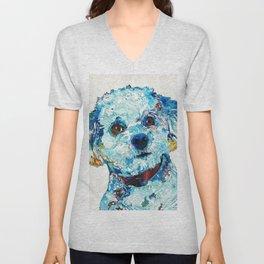 Small Dog Art - Who Me - Sharon Cummings Unisex V-Neck