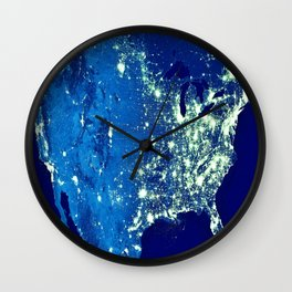 America At Night Wall Clock