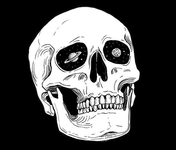 Space Skull Metal Travel Mug