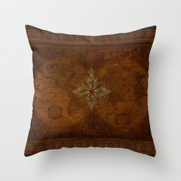 Antique Steampunk Compass Rose & Map Throw Pillow