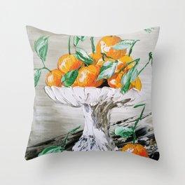 Fruit of Life, Oranges in vase, fruit print, oranges print, oranges bouquet, orange and green Throw Pillow