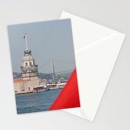 Turkish flag and Maiden tower in Istanbul Stationery Cards