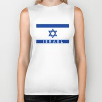 israel Biker Tanks featuring Israel country flag name text  by tony tudor