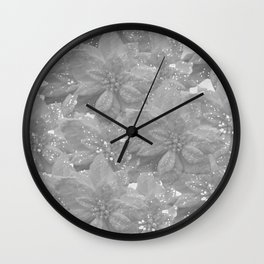 POINSETTIA WHITE SPARKLE TWINKLE PATTERN Wall Clock