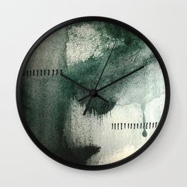 Last Kiss: a minimal, abstract watercolor piece in greens Wall Clock