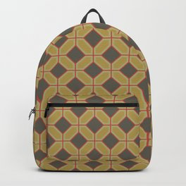 Chicken and Waffles Retro Geometric Pattern Design Backpack