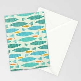 Shimmering Scandinavian Fish In Blue And Gold Pattern Stationery Cards