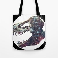 trex Tote Bags featuring Galaxy trex by Fallen amongst the wolves