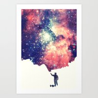 universe Art Prints featuring Painting the universe by badbugs_art
