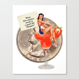 Miss Daiquiri   Vintage Pin Up Girl Collage Canvas Print