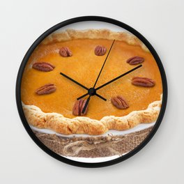 Homemade pumpkin pie isolated on white Wall Clock