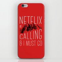 netflix iPhone & iPod Skins featuring Netflix is calling by Zeke Tucker