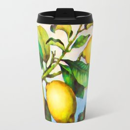Branch of a lemon tree in autumn Travel Mug