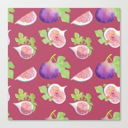 Figs fruit watercolor pattern Canvas Print