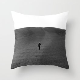 Moon Surface // Hiking up the Black Hills in a Desolate Landscape Throw Pillow