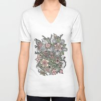 preppy V-neck T-shirts featuring Modern green pink floral handdrawn pattern by Girly Trend