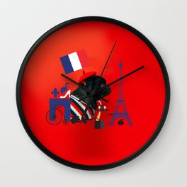 Proud Pug from Paris Wall Clock
