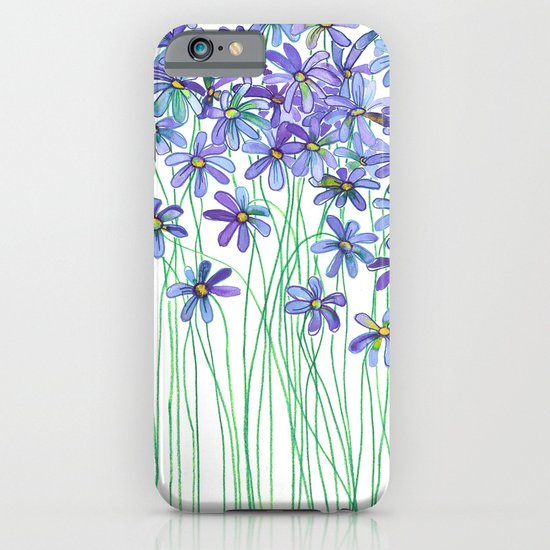 Purple Daisies in Watercolor & Colored Pencil iPhone & iPod Case