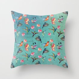 Vintage Watercolor hummingbirds and fuchsia flowers Throw Pillow