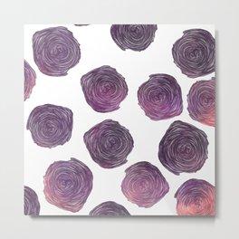 Modern pink purple trendy roses floral pattern Metal Print