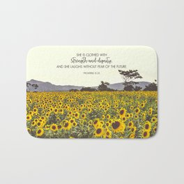 Proverbs and Sunflowers Bath Mat