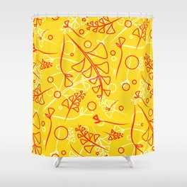 Plant mustard and peach stems and elements on an orange background in a natural style. Shower Curtain