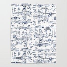 F-18 Blueprints // Blue Ink Poster