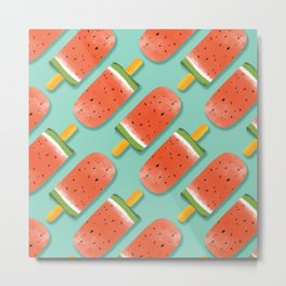 Watermelon Popsicles Pattern #society6 #decor #buyart Metal Print
