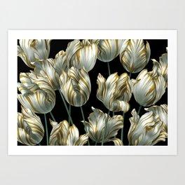 Winter Tulips in Gold. Art Print