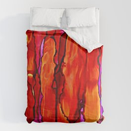 Reverie in Red Yellow and Violet Comforters