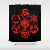sasuke Shower Curtains featuring Sharingans by feimyconcepts05