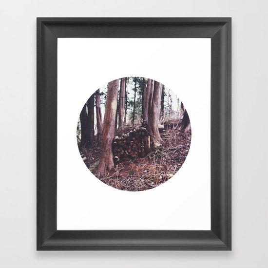 Stack of wood Framed Art Print