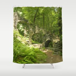 Castle Ruins in the Forest Shower Curtain